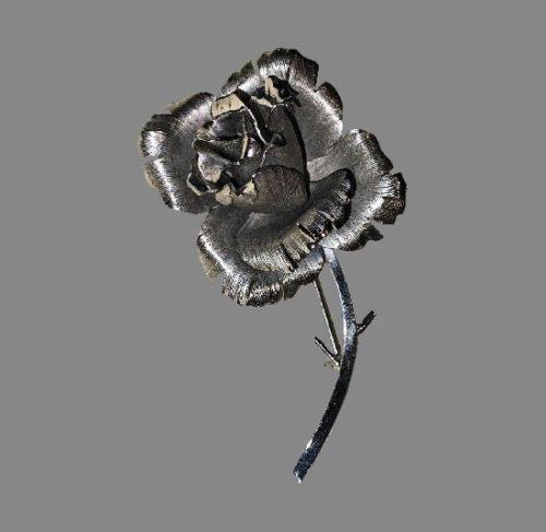 Rose flower sterling silver brooch