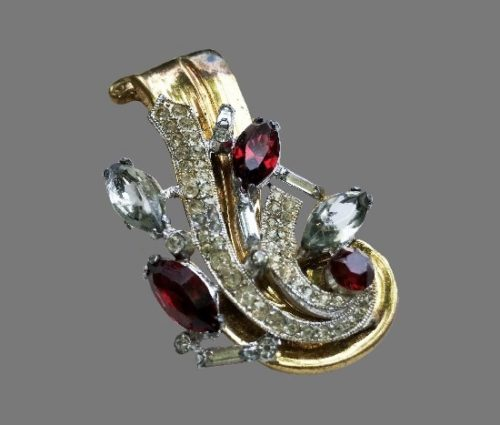 Ruby rhinestone floral design gold tone brooch