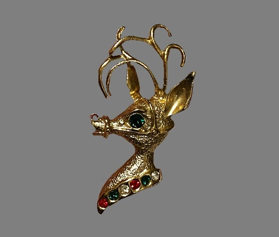 Rudolf reindeer Christmas brooch pin. Gold plated metal alloy, red, green and clear rhinestones. 1970s