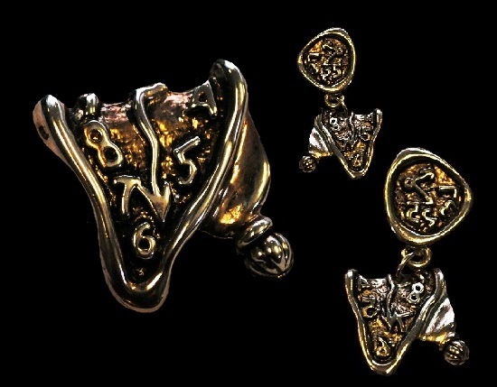 Salvador Dali inspired brooch pendant and earrings