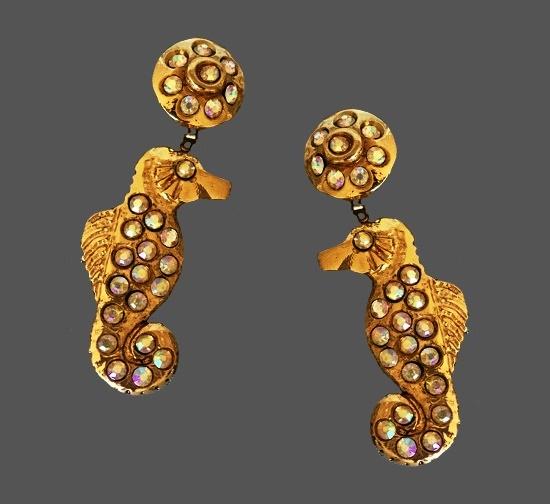 Seahorse dangle drop clip on earrings. Gold tone, rhinestones