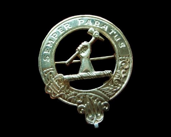 Semper Paratus' (always ready) sterling silver clan brooch. 3.3 cm. 1979