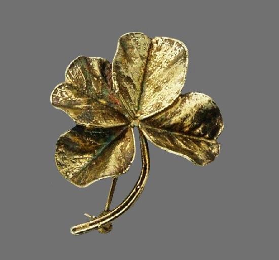 Shamrock four-leaf clover vintage brooch. Sterling silver. 4 cm