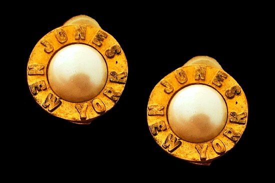 Signed on the front matte gold round shaped faux pearl earrings