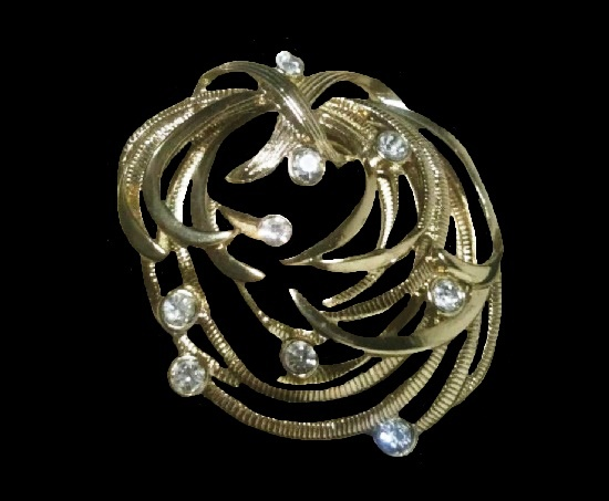 Silver plated floral brooch with rhinestones