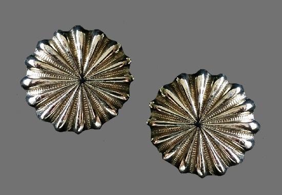 Silver tone starburst design clip on earrings