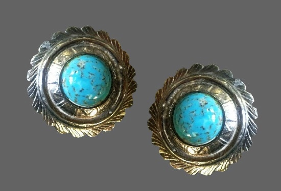 Silver tone turquoise clip on earrings