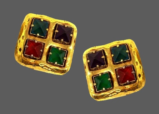 Square shaped clip on earrings. Yellow gold tone metal alloy, red, blue, green and purple rhinestones. 1980s