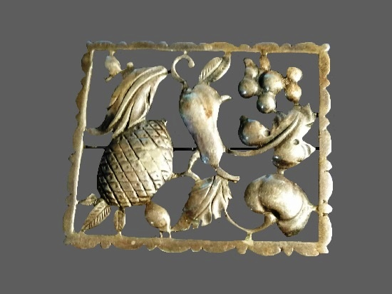 Square shaped fruit and vegetables sterling silver brooch