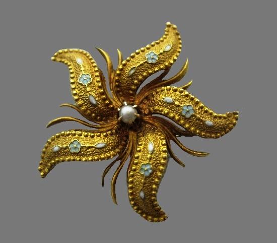 Starfish brooch. 14 K gold filled, enamel, faux pearl