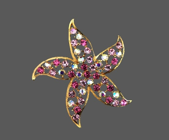 Starfish vintage brooch. Gold tone metal, pink and clear crystals