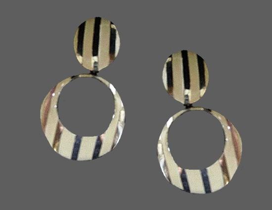 Striped silver tone white enamel dangling earrings