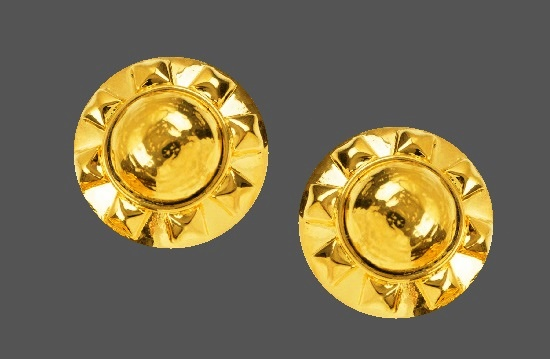 Sun design round shaped gold tone clip on earrings
