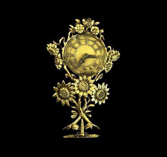 Sunflower Clock gold tone brooch