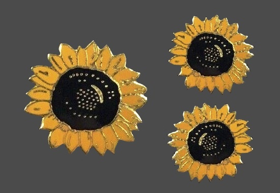 Sunflower brooch and clip on earrings. Made for the Van Gogh exhibition1990s