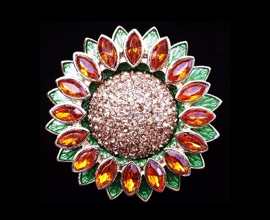 Sunflower brooch. 1980s. Metal alloy, art glass, rhinestones
