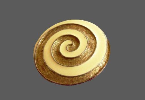Swirl brooch pin. Gold tone, enamel