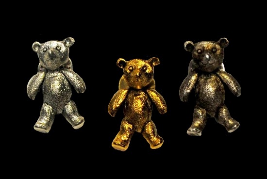 Teddy bear lapel pins. Gold, silver plated