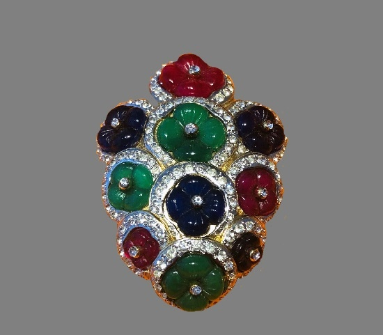 Tutti Frutti carved glass pendant brooch