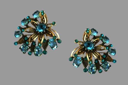 Vintage blue topaz gold tone earrings