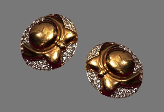 Vintage clips. Gold plated, rhinestones. 3.5 cm. 1980s
