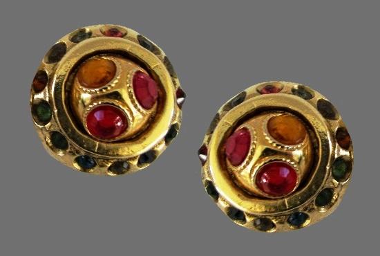 Vintage gold tone art glass clip on earrings