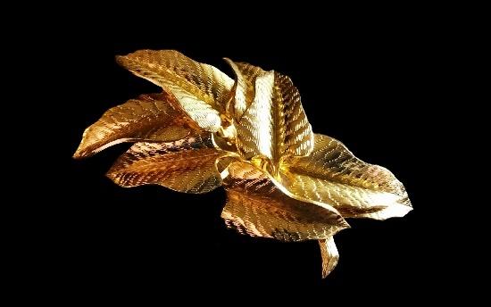 Vintage leaf branch brooch. Gold tone textured metal
