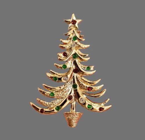 X-mas tree brooch. Gold tone, rhinestones