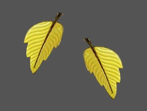 Yellow leaf earrings. Sterling sillver, enamel