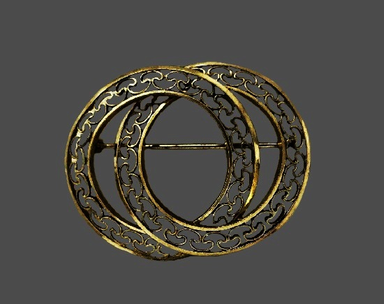 12k Gold Filled Filigree Double Circle Pin Brooch