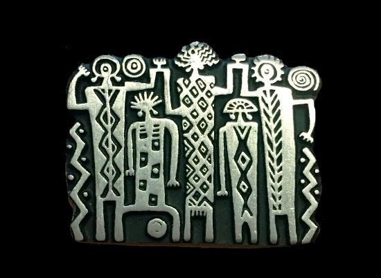 1999 Tribal family pewter brooch