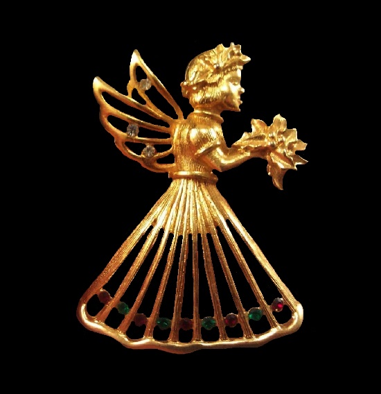 Angel brooch. Gold plated metal alloy, rhinestones. 4.2 cm. 1960s