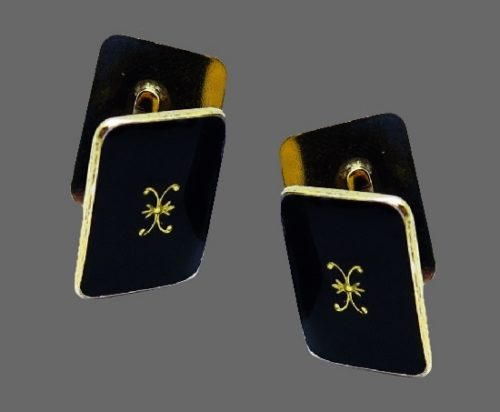 Antique Black enamel cufflinks. 925 sterling silver