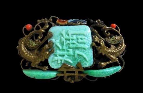 Antique dragon brooch. Brass, glass. 5 cm. 1940s
