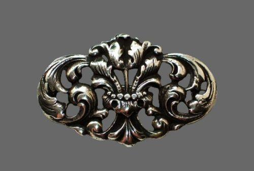 Antique floral design brooch. 830 Sterling silver