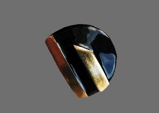 Art Deco brooch and earrings. Gold tone alloy, enamel. 1970s