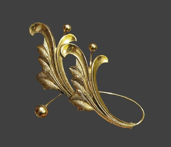 Art Deco leaf and ball gold plated sterling silver brooch