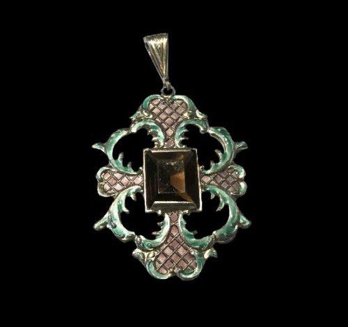 Art Deco pendant. Sterling silver, smokey quartz stone