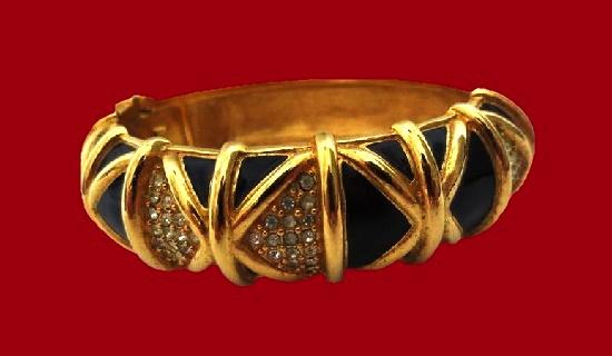 Bangle bracelet. Gold tone, black enamel, rhinestones. 1980s