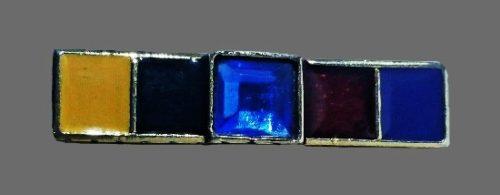 Bar block brooch. Gold tone alloy, enamel, blue rhinestone