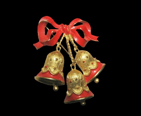 Bells ribbon bow Christmas pin. Gold tone, red enamel. 1960s