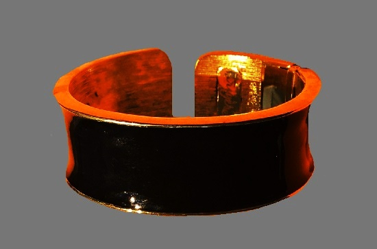 Black enamel gold plated cuff bracelet