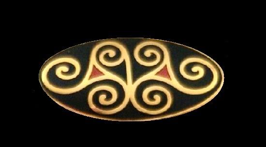 Black enamel gold tone pin