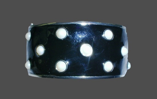 Black enamel white art glass cuff bracelet