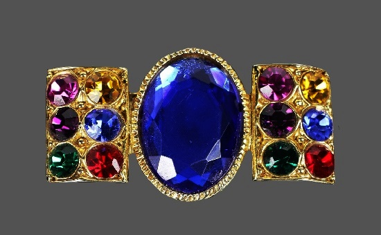 Blue amethyst, multicolor rhinestones gold plated brooch