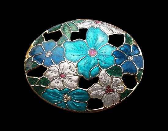 Blue and turquoise flowers brooch