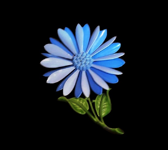 Blue daisy enameled brooch