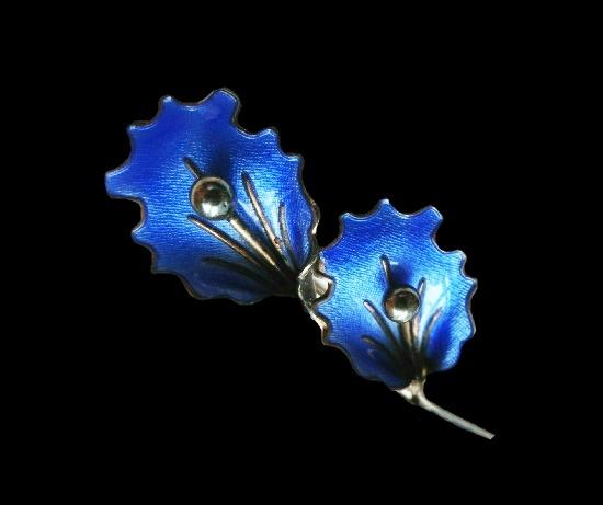 Blue flowers brooch. Sterling silver, enamel. 7 cm