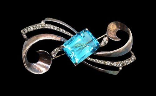 Blue glass 925 sterling silver swirl design brooch pin