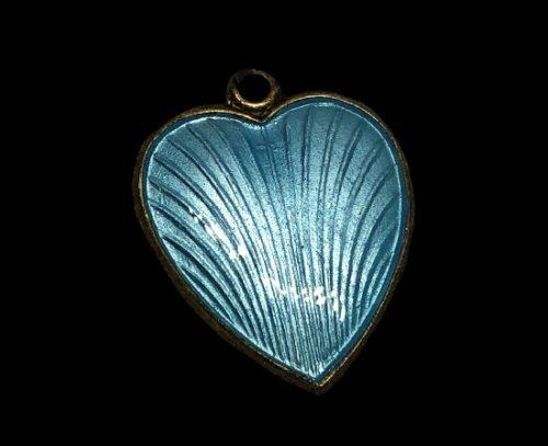 Blue heart textured sterling silver enamel pendant
